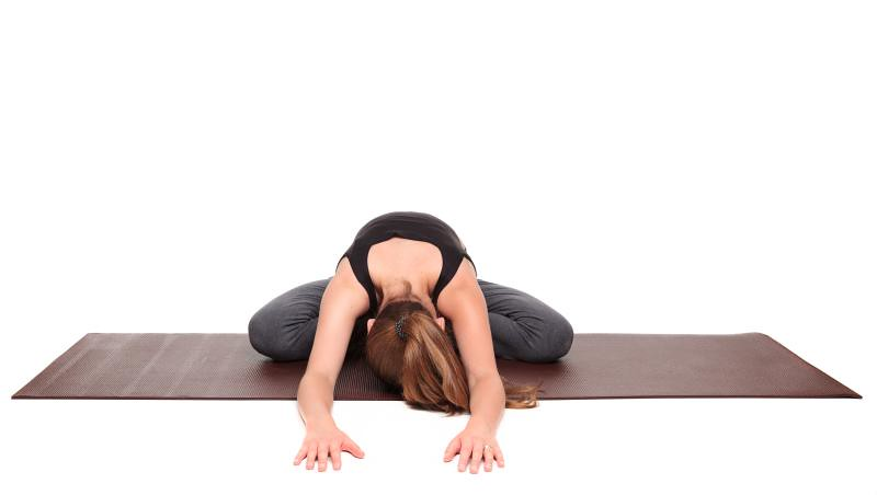 easy pose forward bend